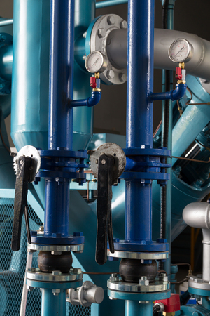 High pressure hoses and valves for air compressor. 스톡 콘텐츠