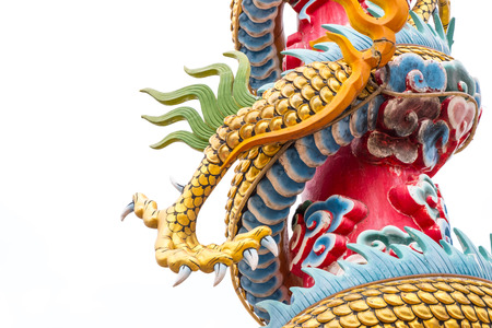 Golden dragon claw dragon foot statue on white background.