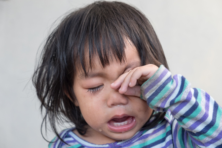 Emotional scene. Portrait of crying baby asian girl.