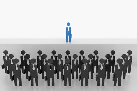 simplify: 3D Business man stand over the crowd on stage. Stock Photo