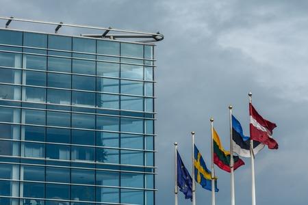 Close-up of a facade of a swedbank building in Riga
