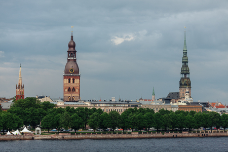 View of the spiers of the cathedrals of the old city of Riga, from the Daugava river