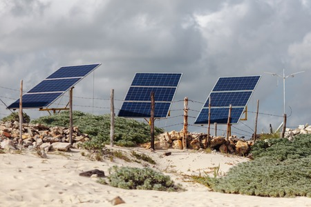 Solar panels on the beach of Cozumel Island. Mexico. Cancun Stockfoto