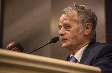 mustafa: Eskisehir, Turkey. Former Chairman of the Mejlis of the Crimean Tatar People Mustafa Dzhemilev speaks during the opening ceremony of the meeting of the Executive Committee of the World Congress of Crimean Tatars in Eskisehir, Turkey. Editorial