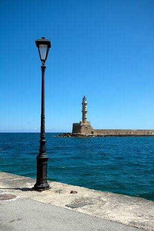 Chania Lighthouse in Crete, Greece. This lighthouse is said to be the oldest in the world. Banco de Imagens