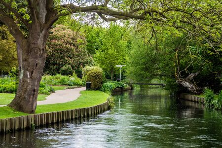 The River Stour meanders through the city of Canterbury, Kent, England.
