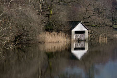 The old boathouse on Rydal Water, Cumbria, England.