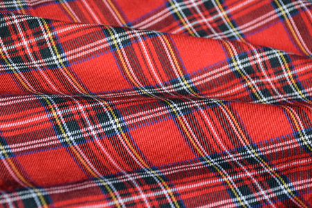 Rippled Red Tartan Uniform Fabric