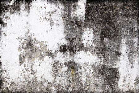 Grunge concrete texture with peeling paint and moss