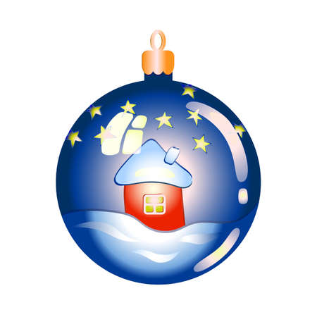 Christmas tree decoration. Christmas toy. Vector illustration of a glass ball for decorating a Christmas tree. Blue glass ball with the image of a house in the snow, against the starry sky. Decorative decoration for new year and Christmas Vetores