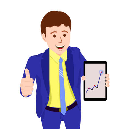 The chart goes up. Vector image of a person for animation. Editable strokes. All the details are on separate layers. The person is happy that the chart is going up. The growth of the business.