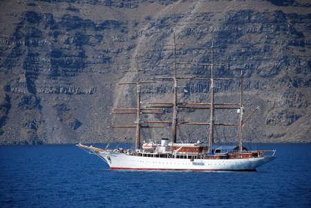 kyklades: santorinis caldera in a ship Stock Photo