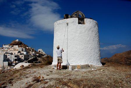 windmills painting photo