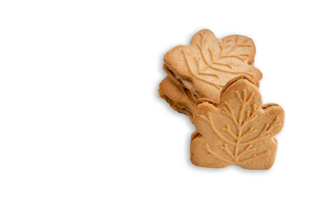 Maple cookies isolated on white background