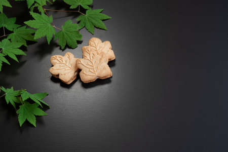 Maple cookies and  maple leaves in spring. canadian food concept Фото со стока