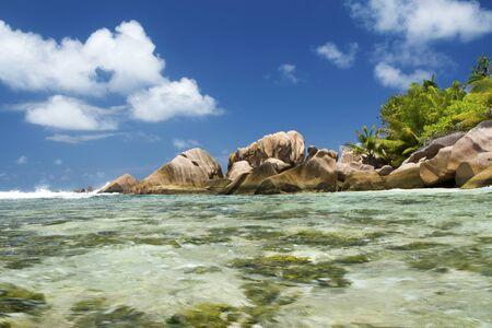 la digue: Inside the water at Anse Coco at La Digue