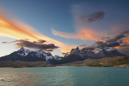 torres del paine: Cuernos del Paine at sunset - Torres del Paine National Park Stock Photo
