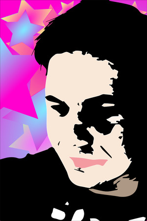 The young man, on a purple background with gradient stars. Illustration