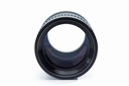 Lens with an adapter and a protective cover on a white background.