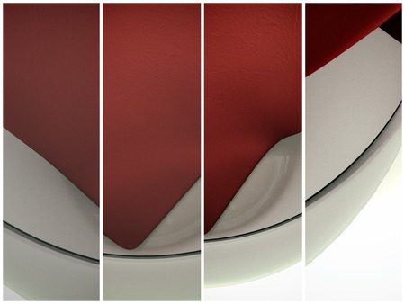 triptych: Realistic 3D model of a glass container and textured fabric napkins. Triptych, a lot of camera objective