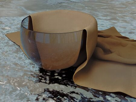 Realistic 3D model of a glass container and textured fabric napkins. On the marble topbase.