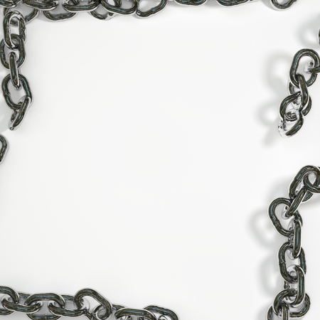white background framed by a frame of steel chain