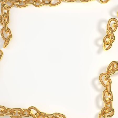 white background framed by a frame of gold chain Standard-Bild
