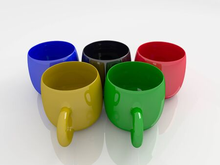 sports form: Colorful coffee mugs in the form of sports competition rings