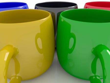 Colorful coffee mugs in the form of sports competition rings