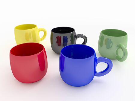 colorful coffee mugs on a white background