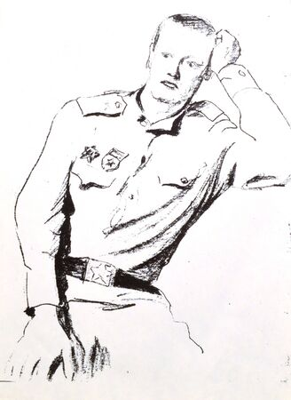army drawing 1966-1968year.image soldier be lonely miss bride photo