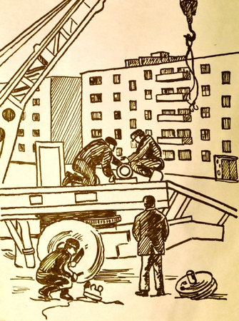 the seventies: image lockmiths repair engineering.old drawing.the seventies year