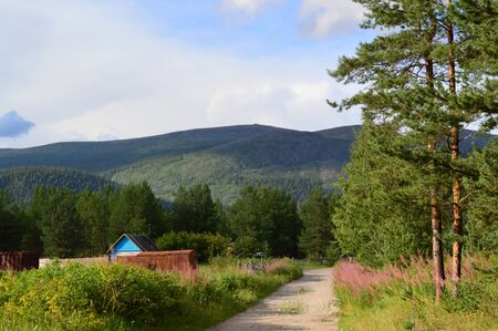 dacha: beatiful landscape with dacha,road,forest and mountains