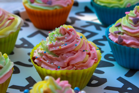 decorate: Decorate cupcakes