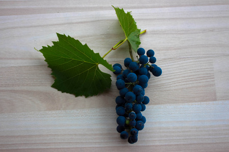 biological vineyard: Blue grapes and two green leaves on beige floor