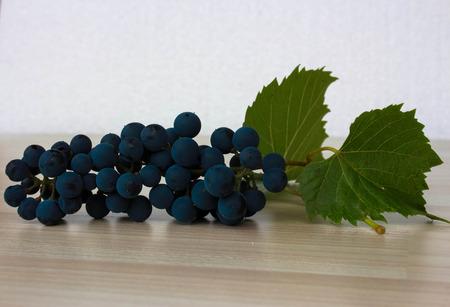 biological vineyard: Blue grapes on beige floor and white background