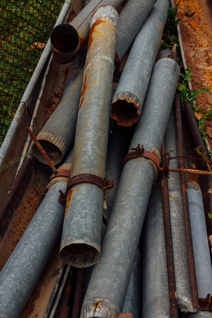 needless: Old rust take down outfalls Stock Photo