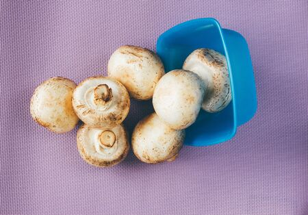 scattered: Raw scattered mushrooms in blue bowl
