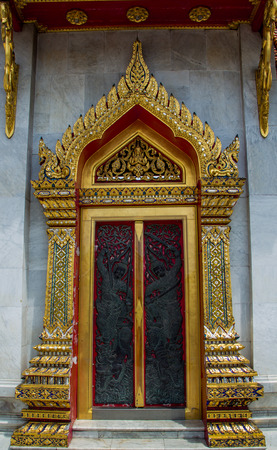 stucco facade: door entrance to mable temple