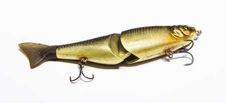 fisher animal: fishing lures on white background