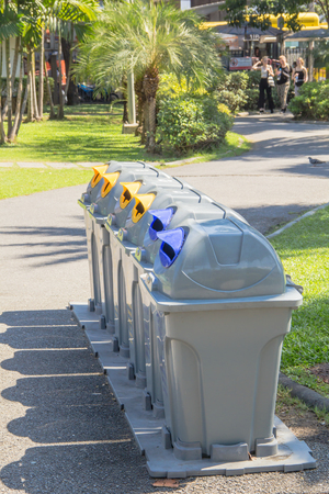 trashcan in Jatujak park at bangkok thailand