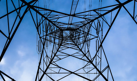energy work: High voltage tower in the sky background Stock Photo