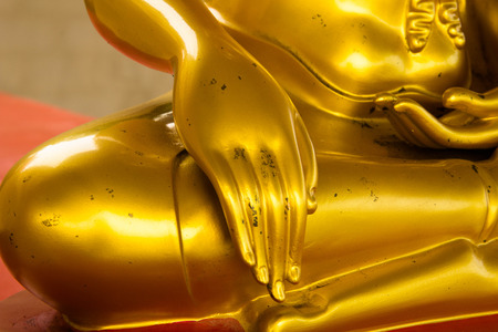 hand golden buddha in temple thailand Stock Photo