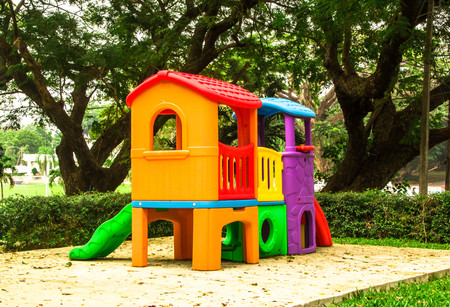 colorful playground in the park Stock Photo