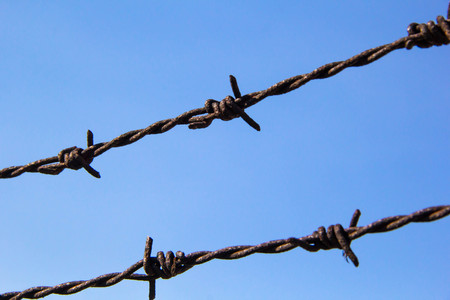 rusty barbed wire with  blue background