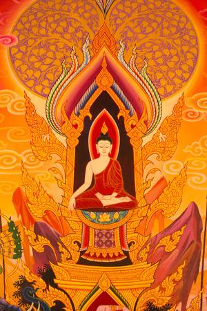 Buddhas Biografie-Gemälde an der Wand des Tempels Standard-Bild
