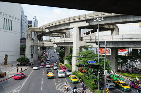 streetlife: Bangkok streets. The view of Skytrain lines. Editorial