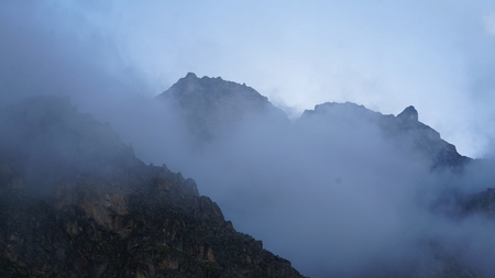 austere: Early cloudy morning in the austere mountains.