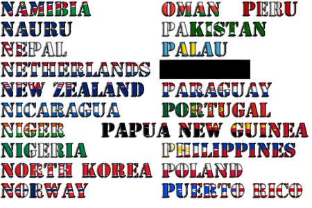 nauru: Country names in colors of national flags - full kit, part 9 of 12. Letters N, O, P.
