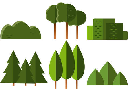 Set of vector trees and shrubs in the style of the flat